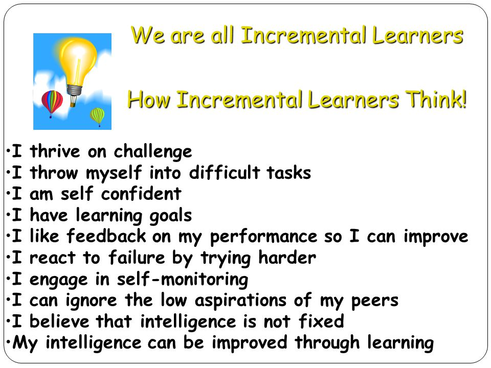We are all Incremental Learners How Incremental Learners Think!