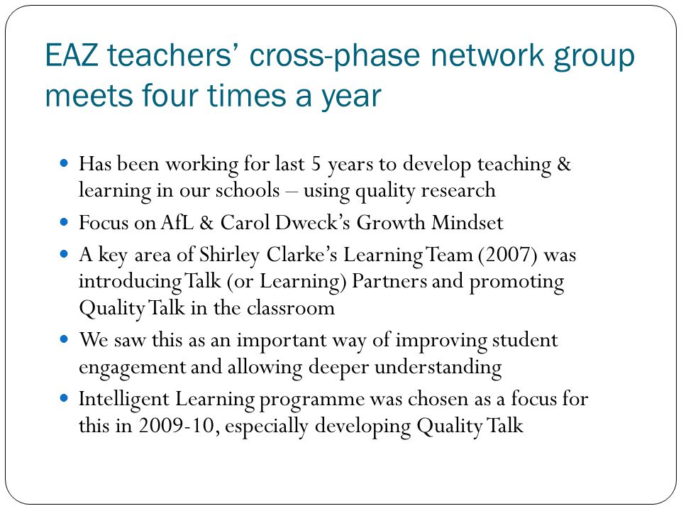 EAZ teachers' cross-phase network group meets four times a year