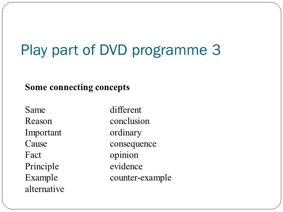 Play part of DVD programme 3