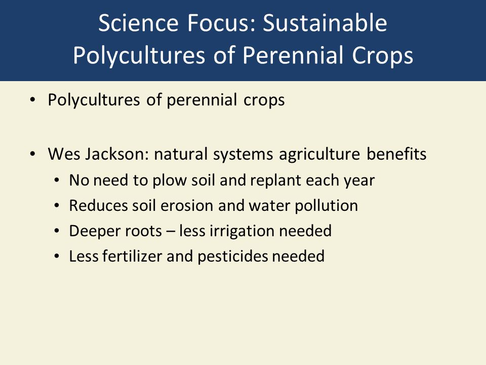 Science Focus: Sustainable Polycultures of Perennial Crops