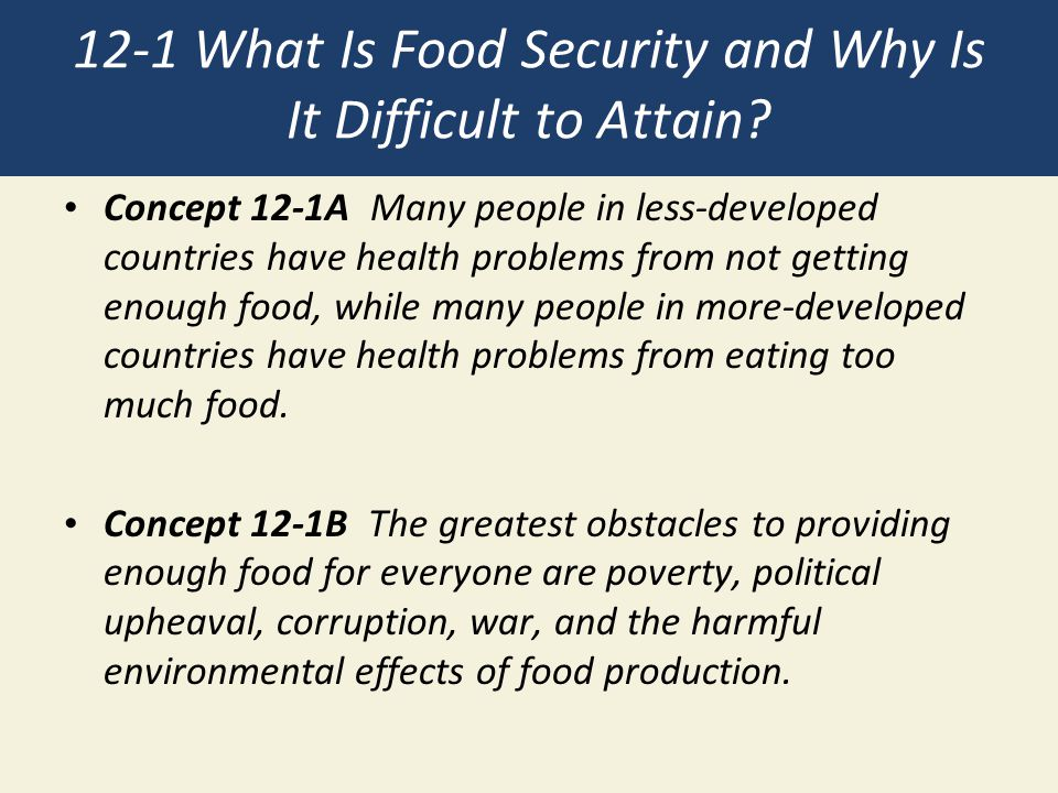 12-1 What Is Food Security and Why Is It Difficult to Attain