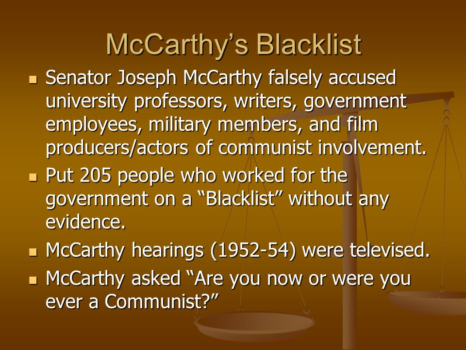 McCarthy's Blacklist