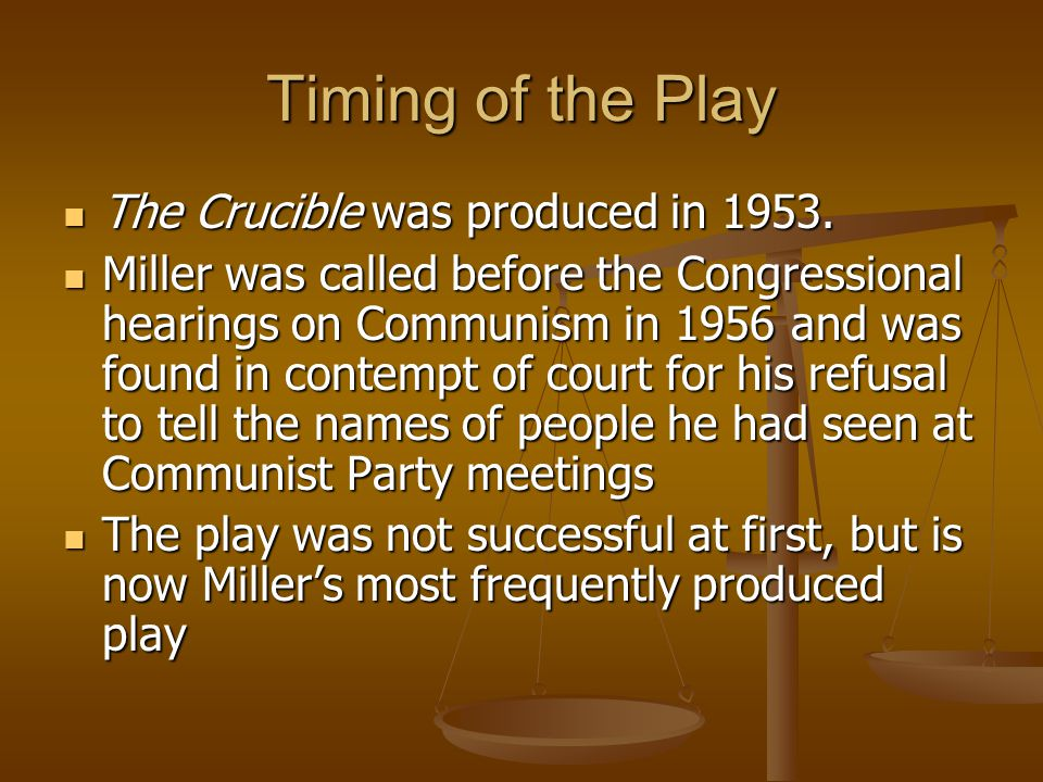 Timing of the Play The Crucible was produced in 1953.