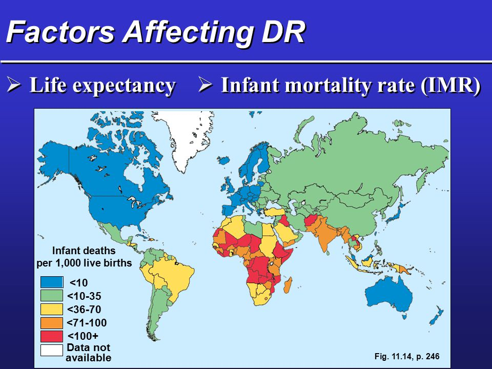 Factors Affecting DR Life expectancy Infant mortality rate (IMR)