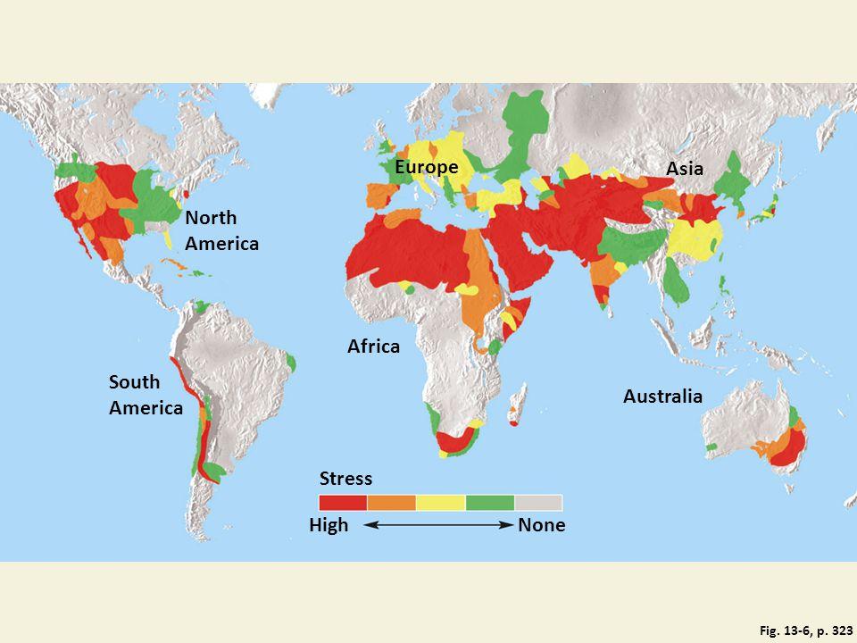 Europe Asia North America Africa South America Australia Stress High