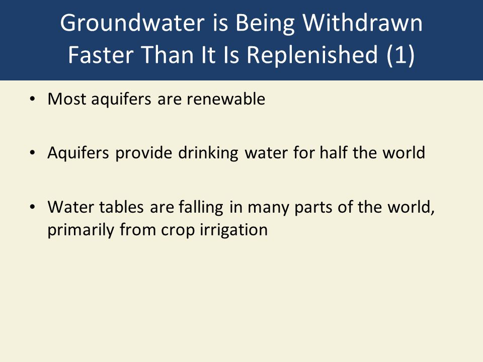 Groundwater is Being Withdrawn Faster Than It Is Replenished (1)