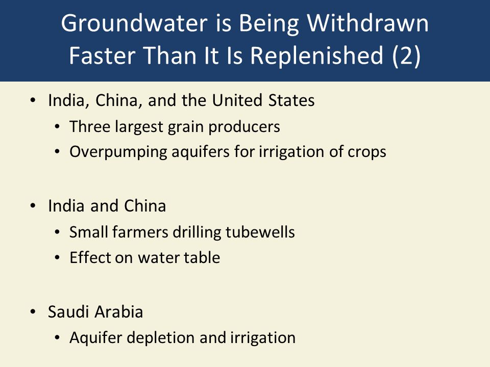 Groundwater is Being Withdrawn Faster Than It Is Replenished (2)