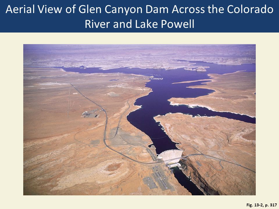Aerial View of Glen Canyon Dam Across the Colorado River and Lake Powell