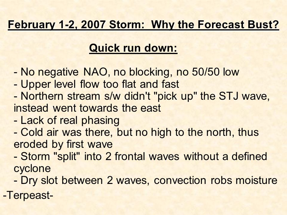 February 1-2, 2007 Storm: Why the Forecast Bust