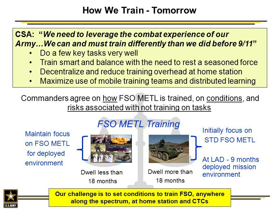 How We Train - Tomorrow FSO METL Training