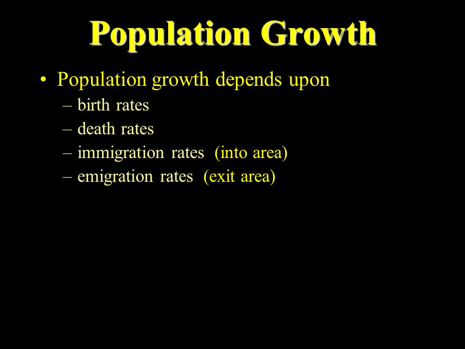Population Growth Population growth depends upon birth rates