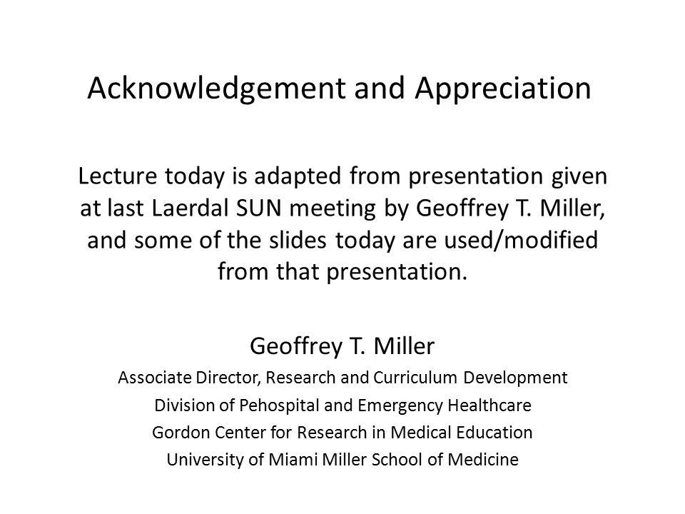 Acknowledgement and Appreciation
