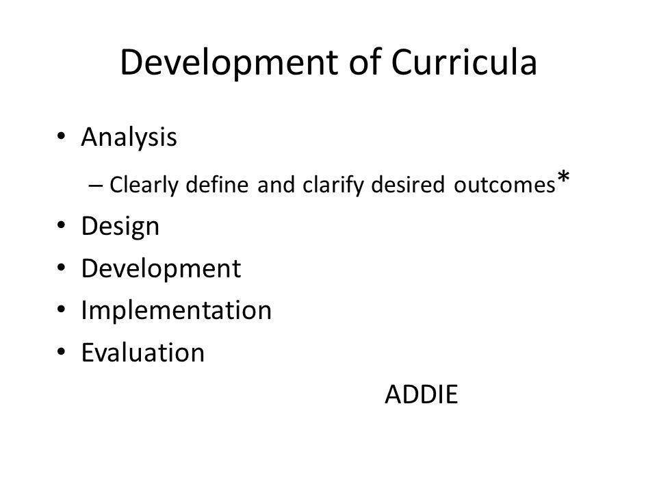 Development of Curricula