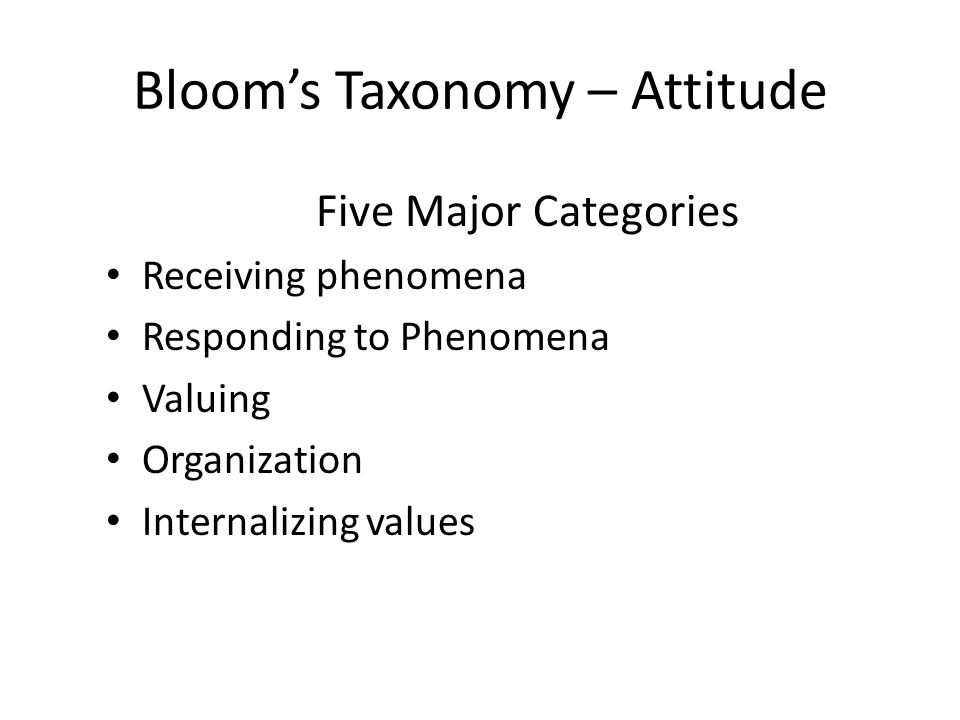 Bloom's Taxonomy – Attitude