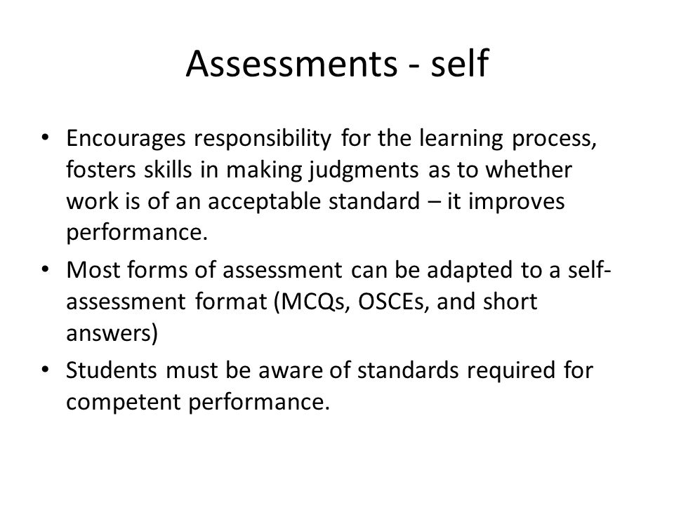 Assessments - self