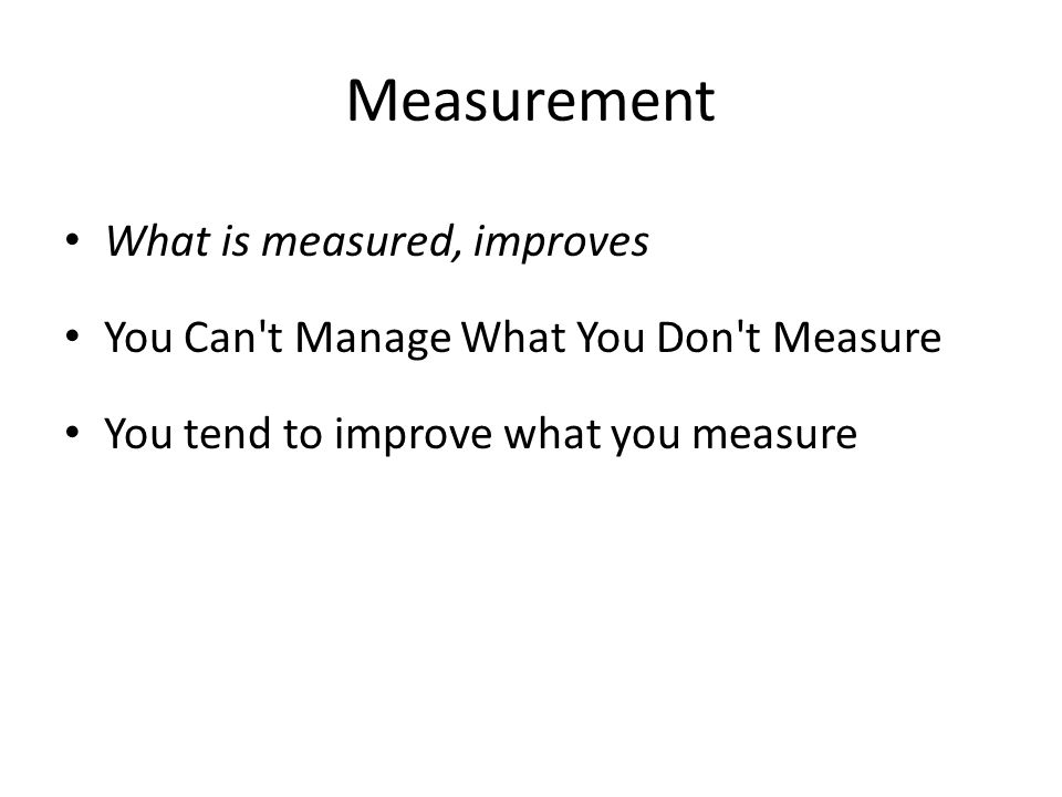 Measurement What is measured, improves