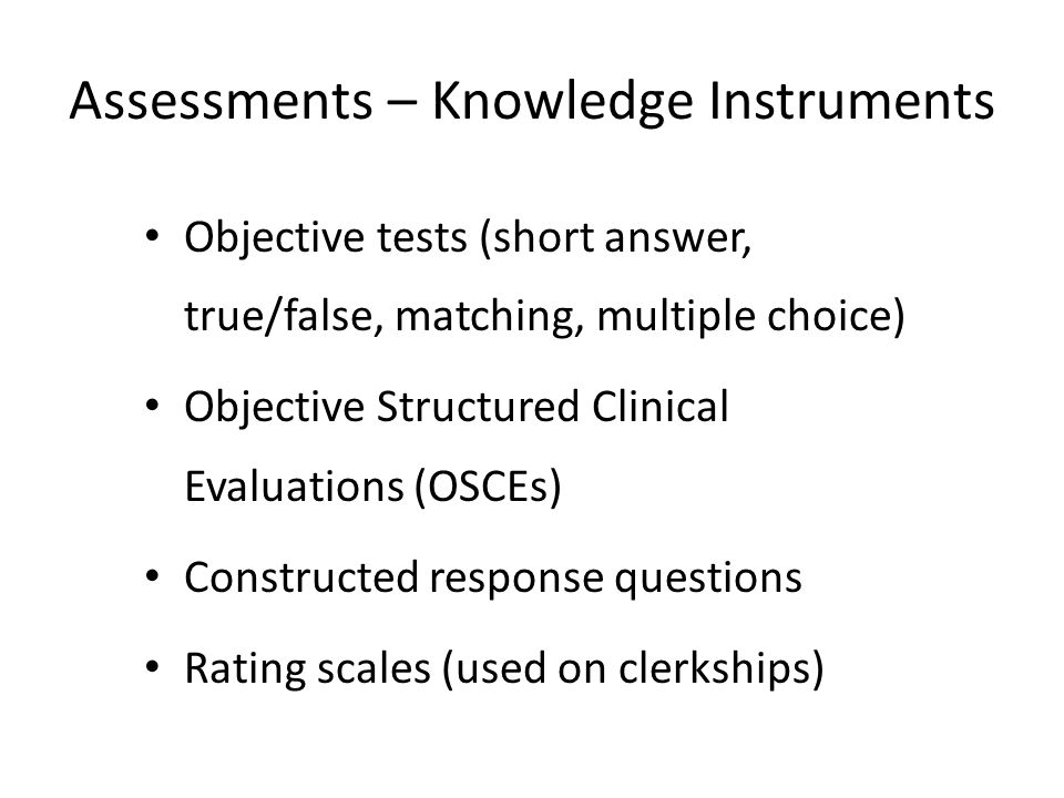 Assessments – Knowledge Instruments