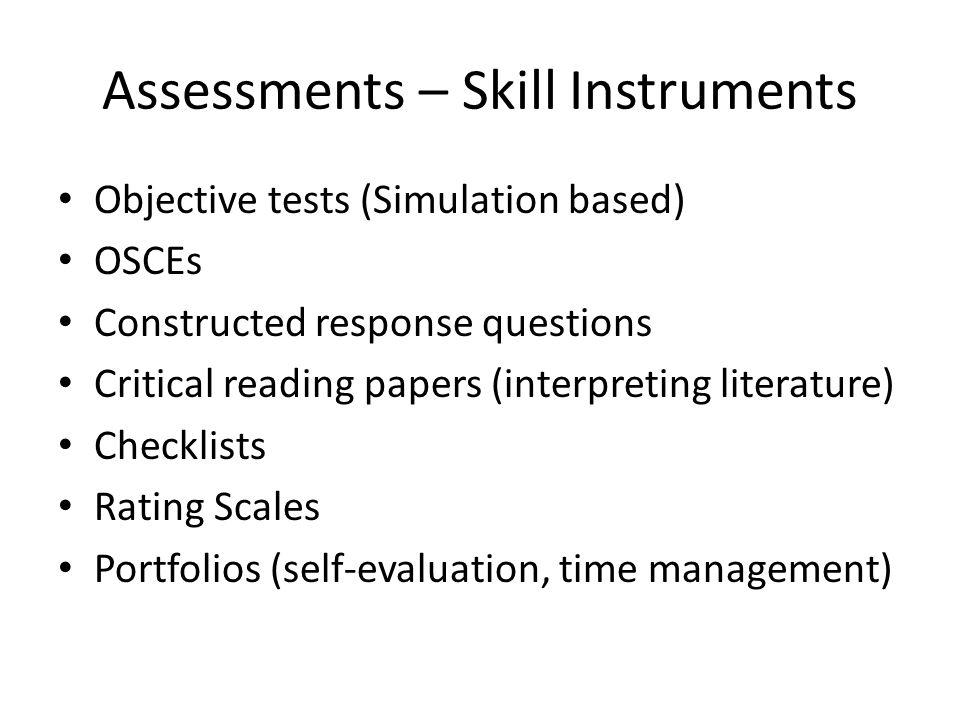 Assessments – Skill Instruments