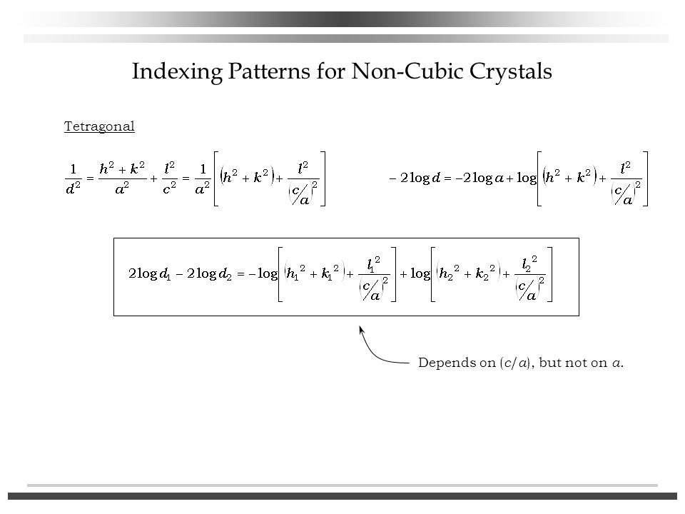Indexing Patterns for Non-Cubic Crystals