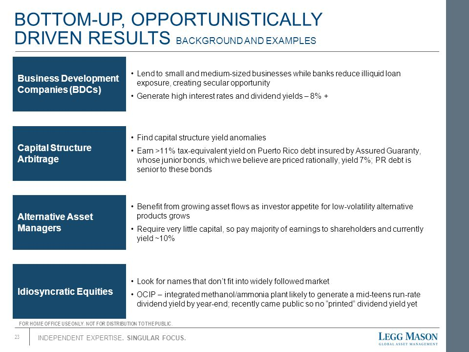 BOTTOM-UP, OPPORTUNISTICALLY DRIVEN RESULTS BACKGROUND AND EXAMPLES