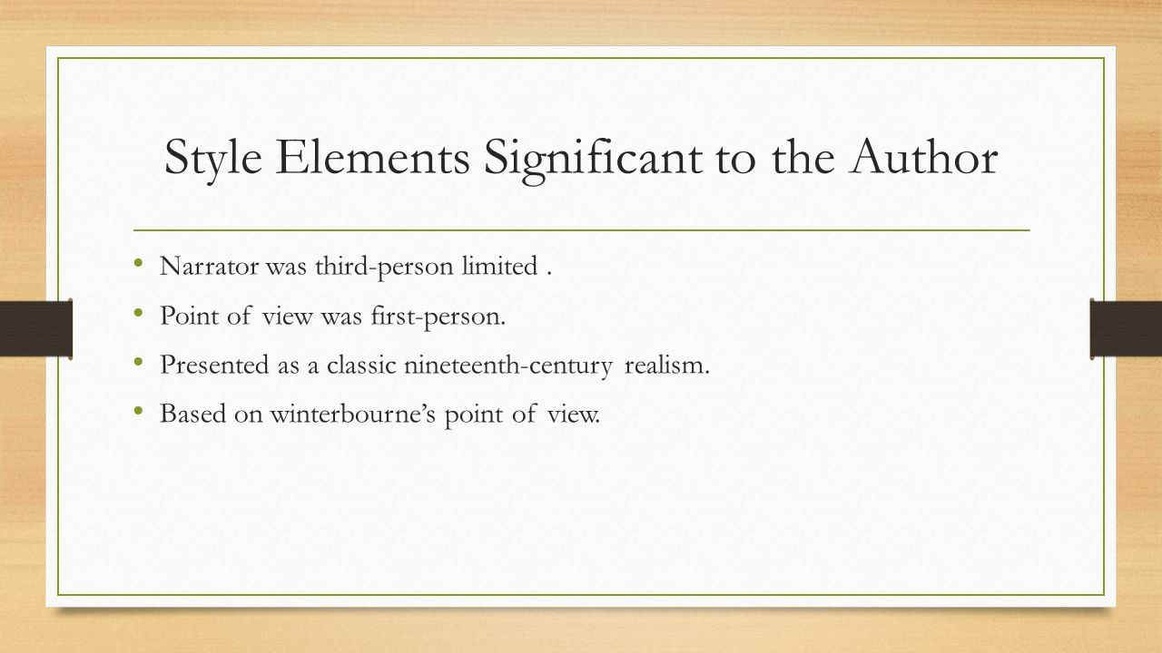 Style Elements Significant to the Author