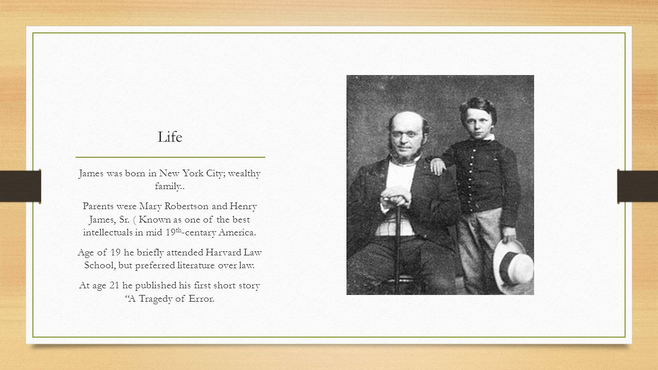 Life James was born in New York City; wealthy family..