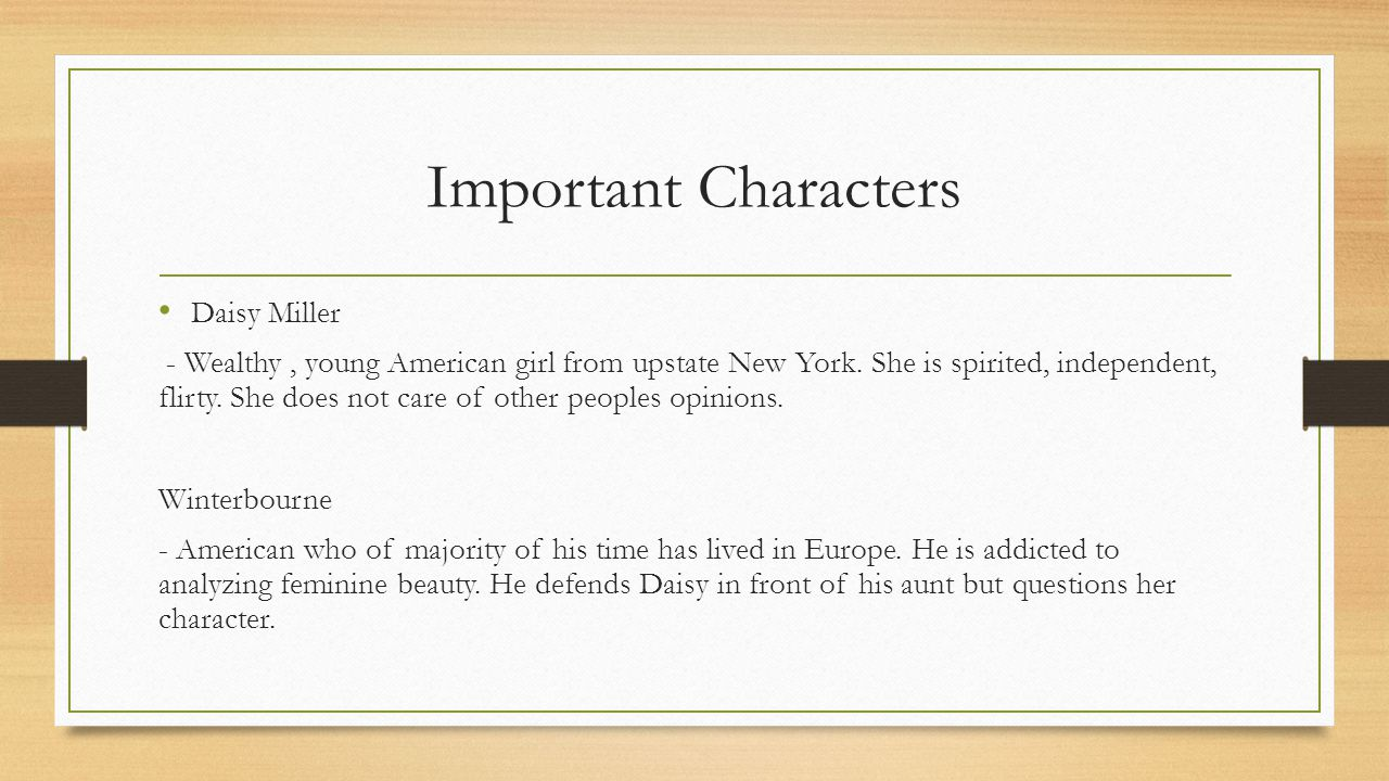 Important Characters Daisy Miller