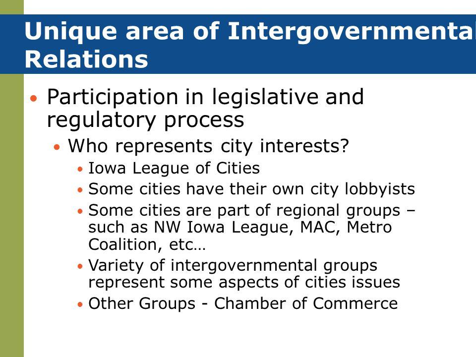 Unique area of Intergovernmental Relations
