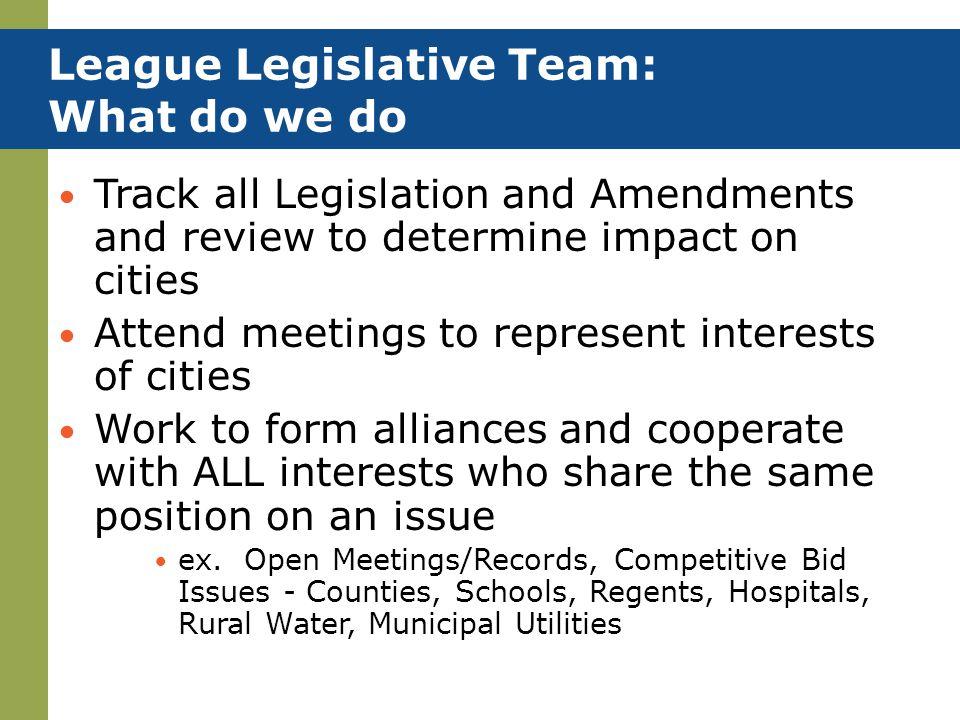 League Legislative Team: What do we do