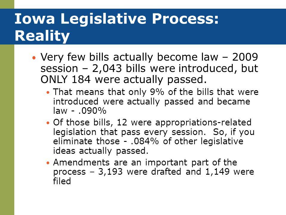Iowa Legislative Process: Reality