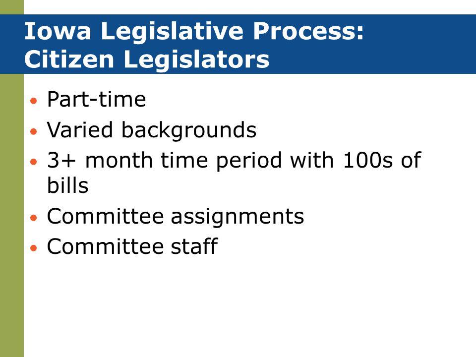 Iowa Legislative Process: Citizen Legislators