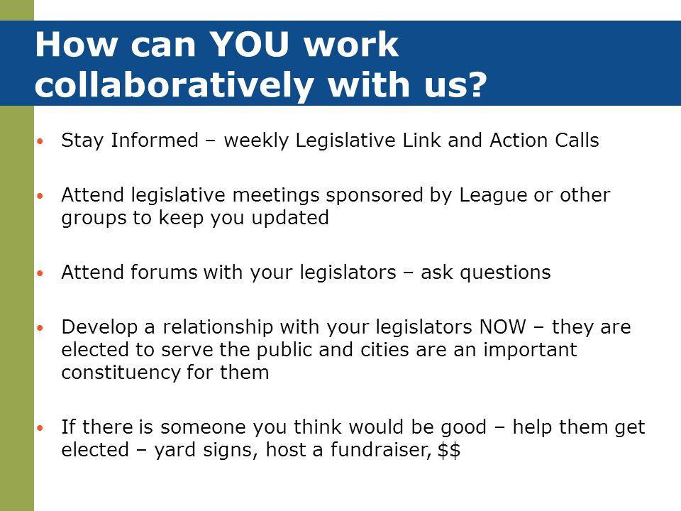 How can YOU work collaboratively with us