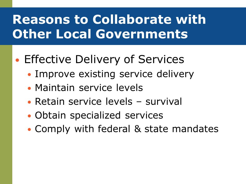 Reasons to Collaborate with Other Local Governments
