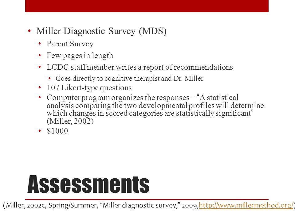 Assessments Miller Diagnostic Survey (MDS) Parent Survey