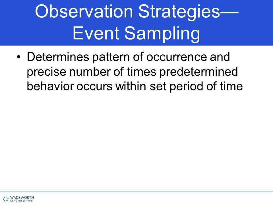 Observation Strategies— Event Sampling