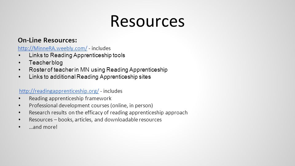 Resources On-Line Resources: http://MinneRA.weebly.com/ - includes