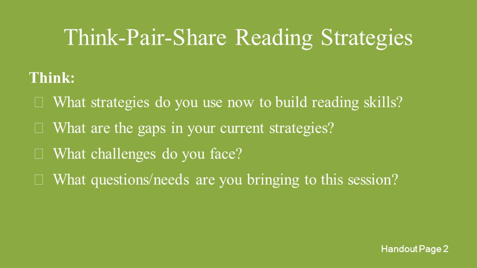 Think-Pair-Share Reading Strategies