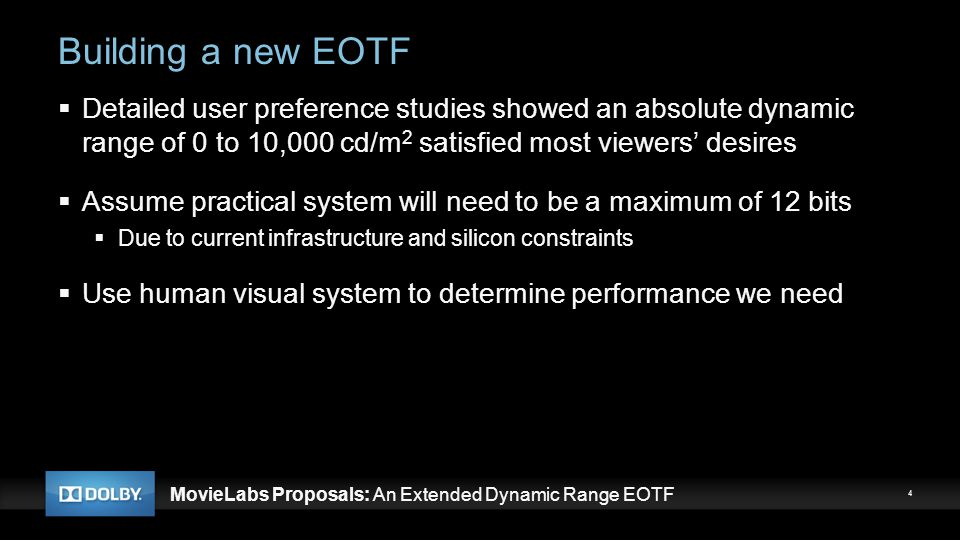 Building a new EOTF Detailed user preference studies showed an absolute dynamic range of 0 to 10,000 cd/m2 satisfied most viewers' desires.