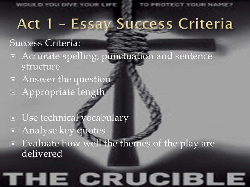 Act 1 – Essay Success Criteria