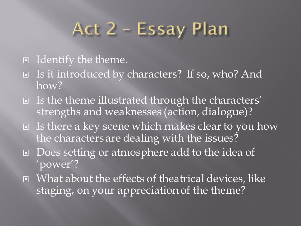 Act 2 – Essay Plan Identify the theme.