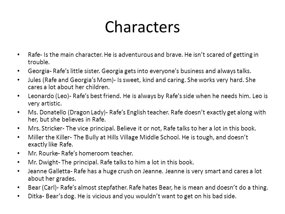 Characters Rafe- Is the main character. He is adventurous and brave. He isn't scared of getting in trouble.