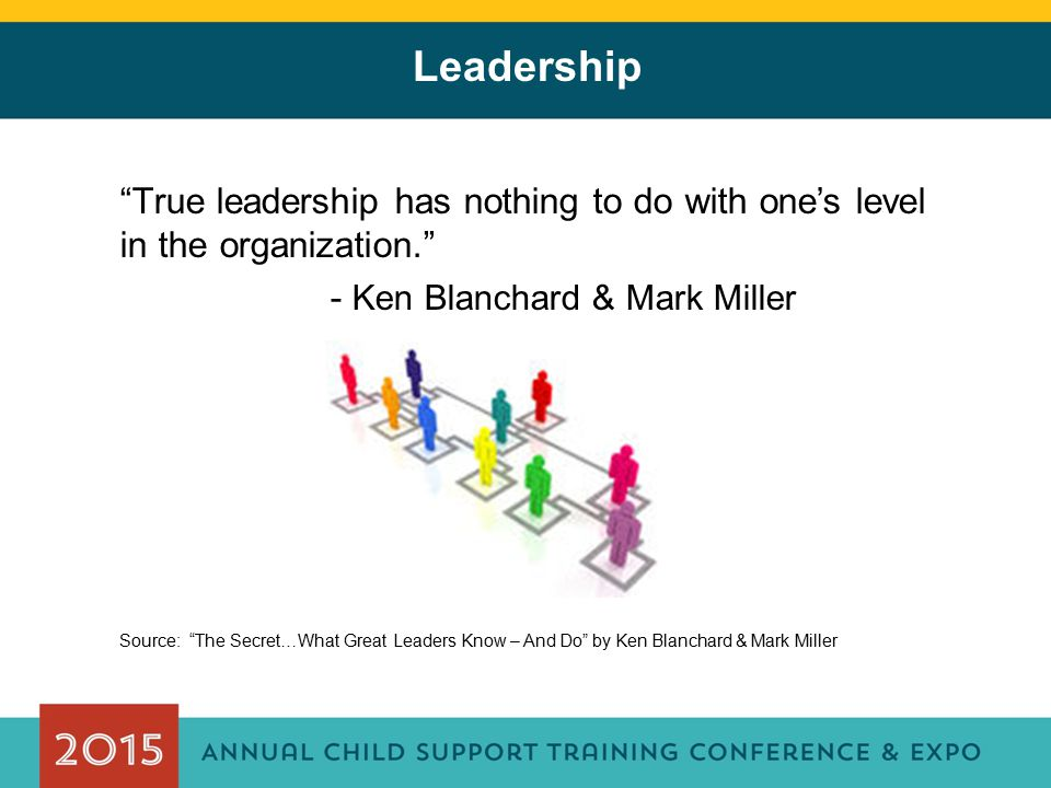 Leadership True leadership has nothing to do with one's level in the organization. - Ken Blanchard & Mark Miller.