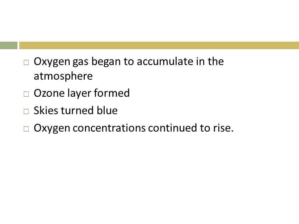 Oxygen gas began to accumulate in the atmosphere
