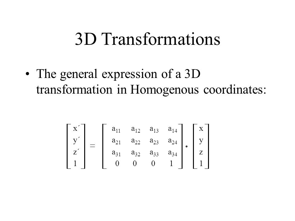 3D Transformations The general expression of a 3D transformation in Homogenous coordinates: x´ a11 a12 a13 a14 x.