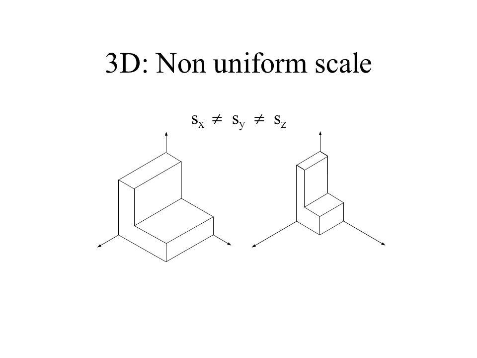 3D: Non uniform scale sx  sy  sz