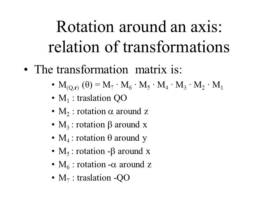 Rotation around an axis: relation of transformations