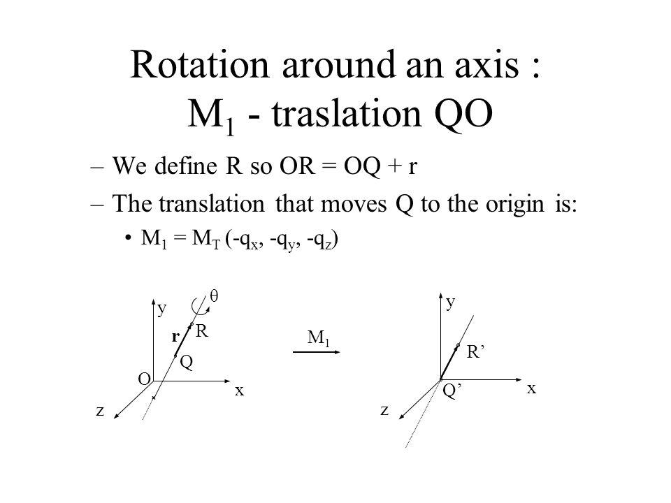 Rotation around an axis : M1 - traslation QO