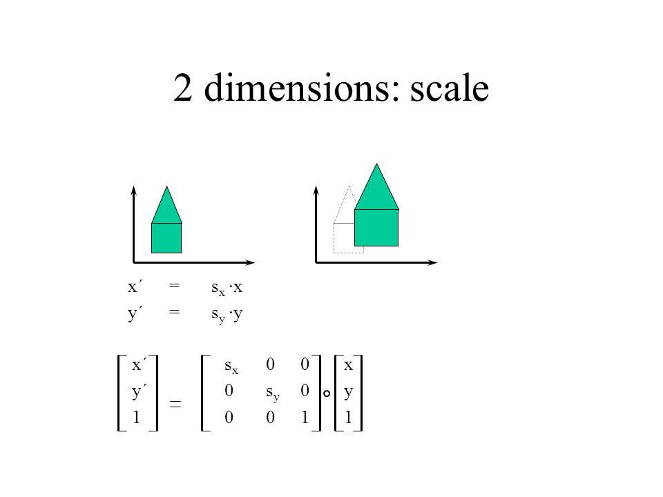 2 dimensions: scale x´ = sx ·x y´ = sy ·y x´ sx 0 0 x y´ 0 sy 0 y