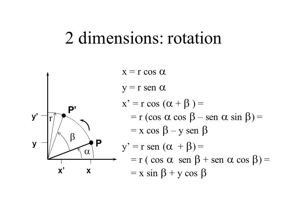 2 dimensions: rotation x = r cos  y = r sen 