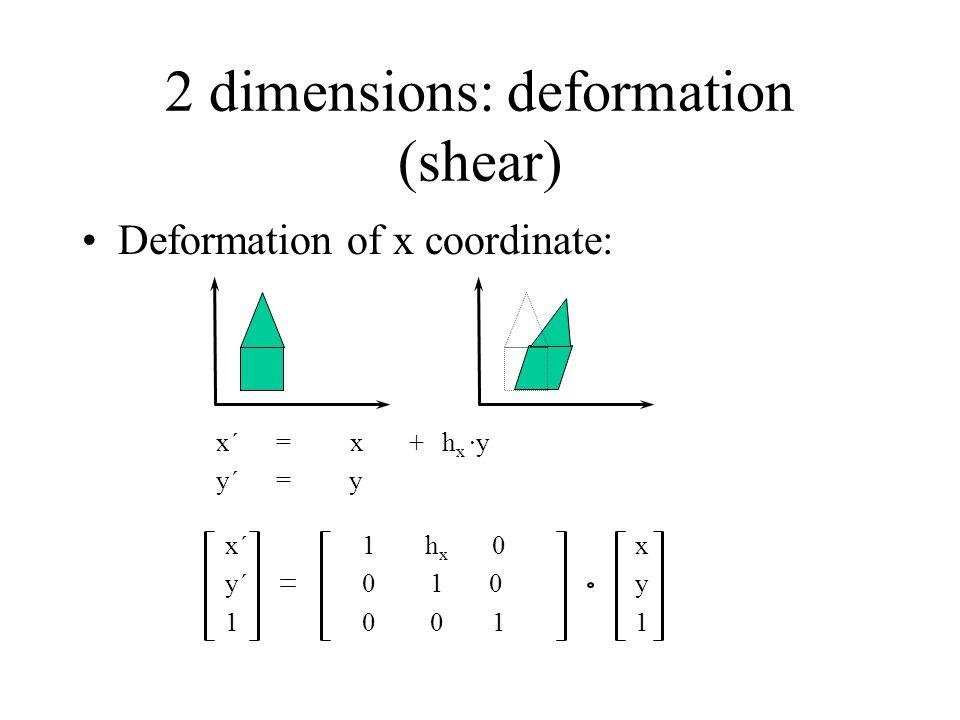2 dimensions: deformation (shear)
